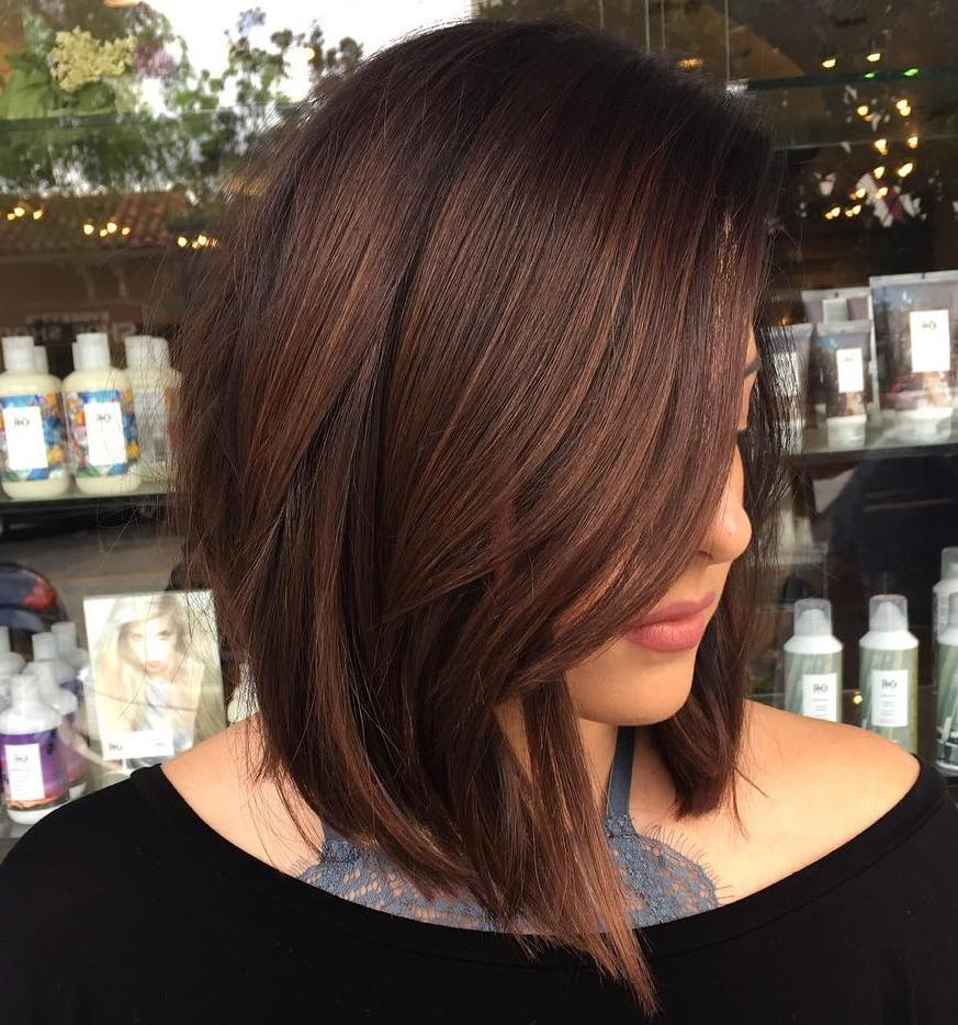 Angled Chocolate Brown Lob