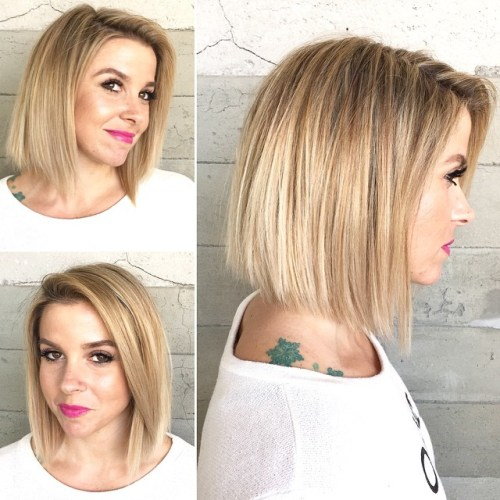 Blunt Side-Parted Bob For Straight Hair