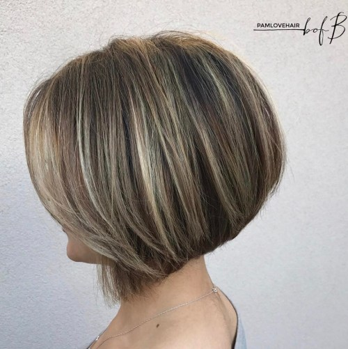 Dishwater Blonde Stacked Bob With Highlights