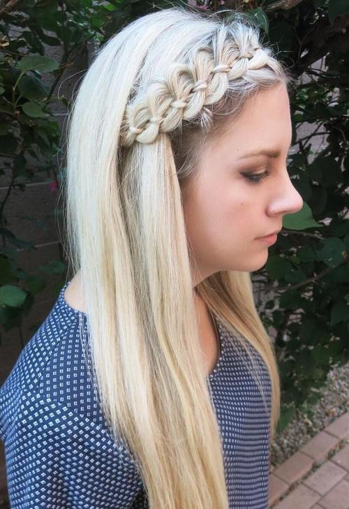 long blonde hairstyle with a four-strand braided headband
