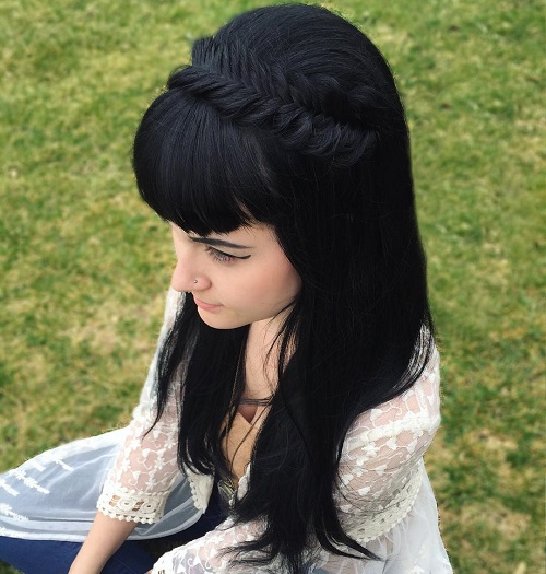 Crown Fishtail Braid With Bangs