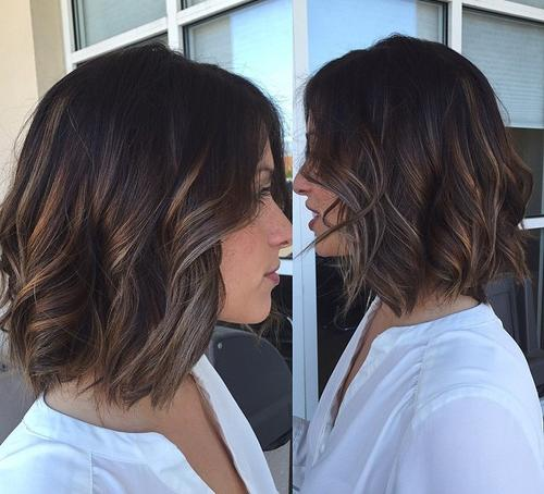 mid-length wavy bob with highlights