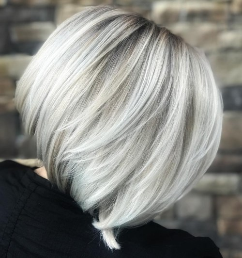 Layered Silver Bob With Dark Roots
