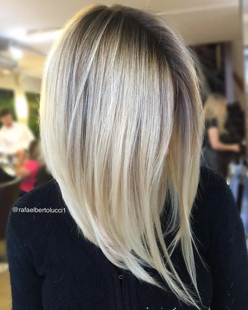 Steeply Angled Blonde Bob