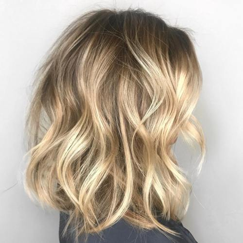 Tousled Wavy Blonde Lob