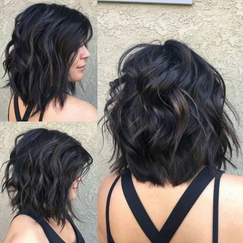 Wavy Lob Hair Cut For Thick Hair