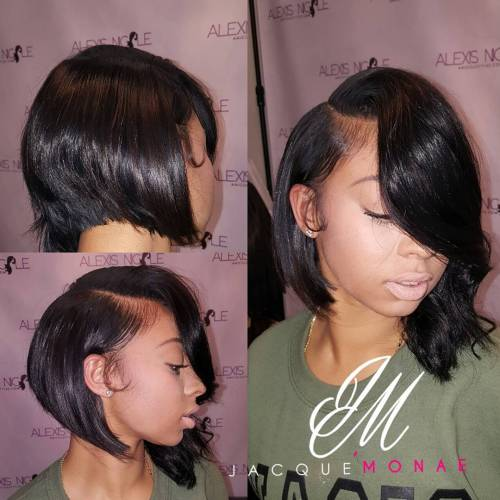 Black Asymmetrical Side-Parted Bob