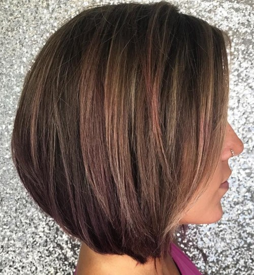 Brown Bob With Subtle Highlights