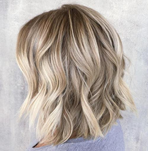 Choppy Wavy Blonde Lob