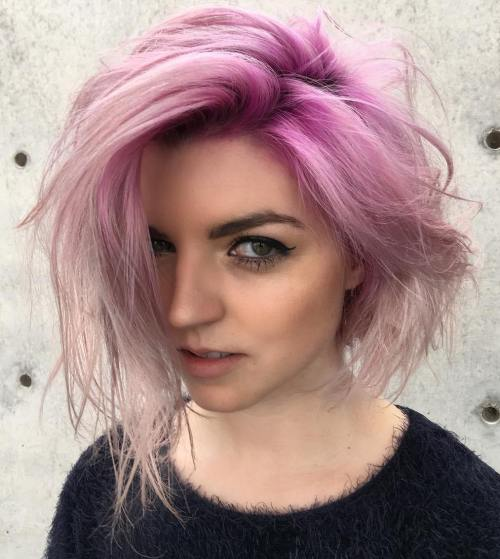 Pastel Pink Messy Ombre Bob