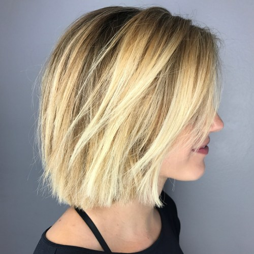 Side-Parted Razored Bronde Bob