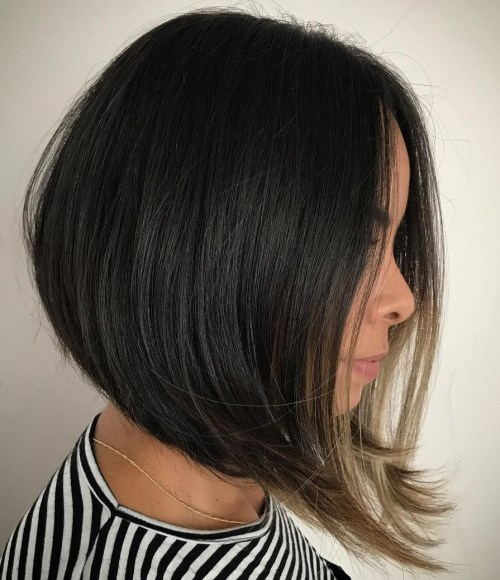 A-Line Black Bob For Straight Hair