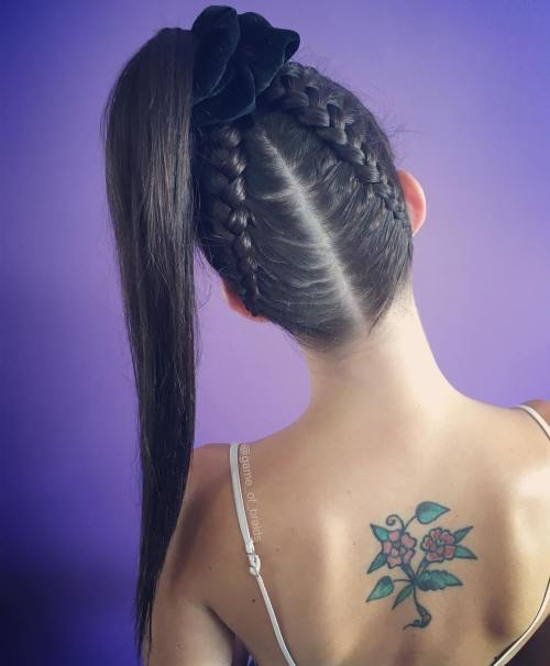 High Ponytail With Upside Down Braids