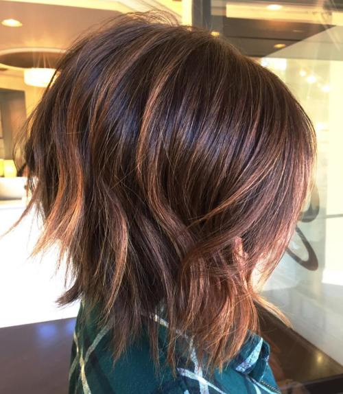 Mahogany Bob With Caramel Highlights