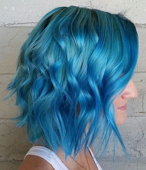 pastel blue long choppy bob