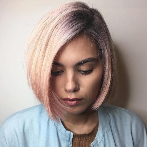 Side-Parted Pastel Pink Bob