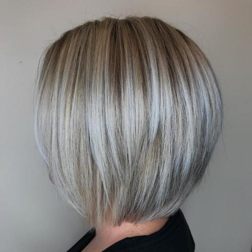 Straight Gray Balayage Bob