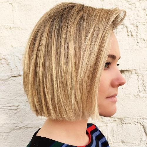 Honey Blonde Blunt Chin-Length Bob