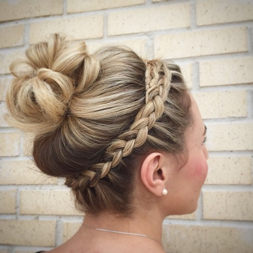 Bun Updo With A Headband Braid