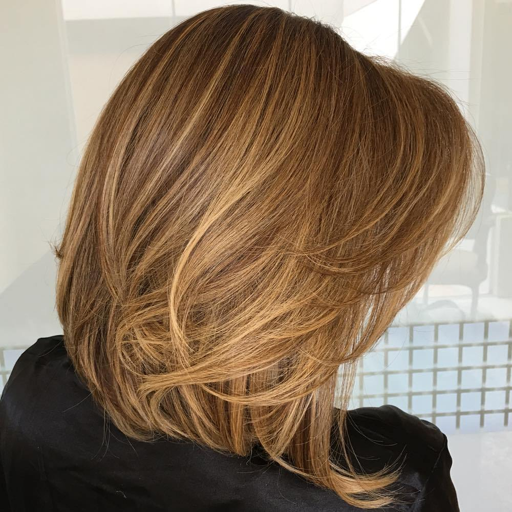 Layered Caramel Blonde Lob