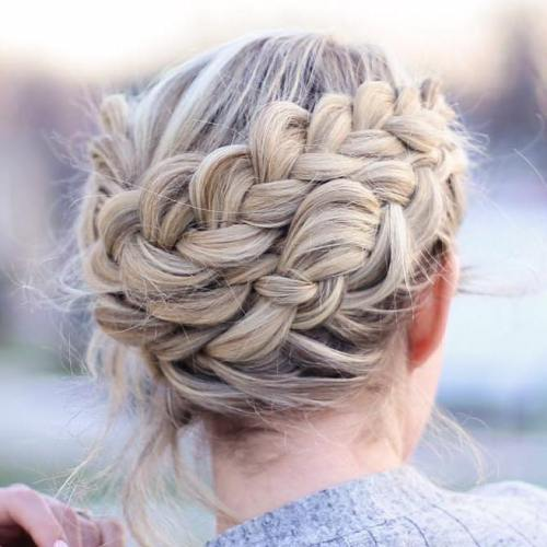 Messy Double Crown Braid Updo