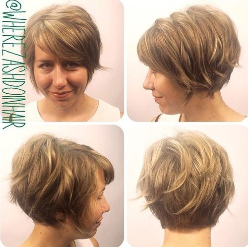 Short stacked wavy bob for thin hair