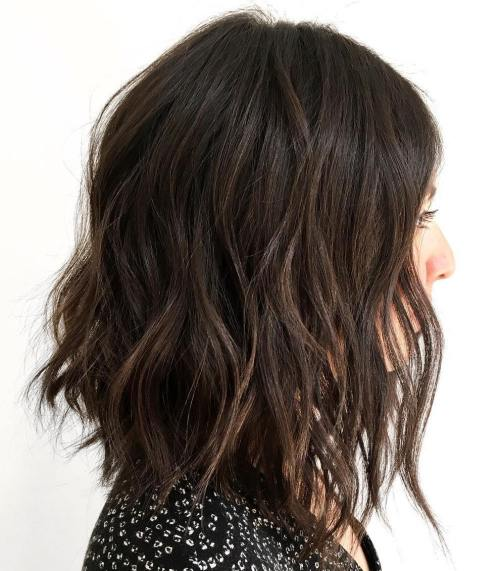 Wavy Shaggy Brunette Long Bob