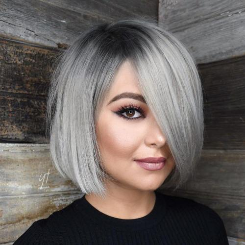 Sleek Gray Bob With Charcoal Roots