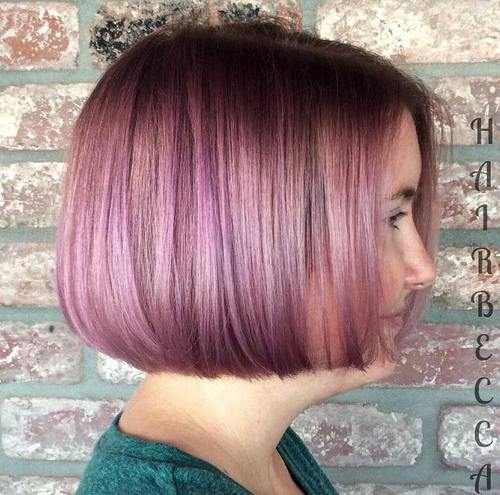 blunt chin length pastel burgundy bob