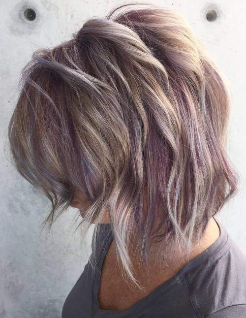 layered pastel purple bob