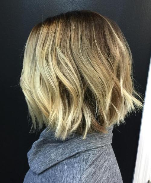 Medium Length Chopped Blonde Bob
