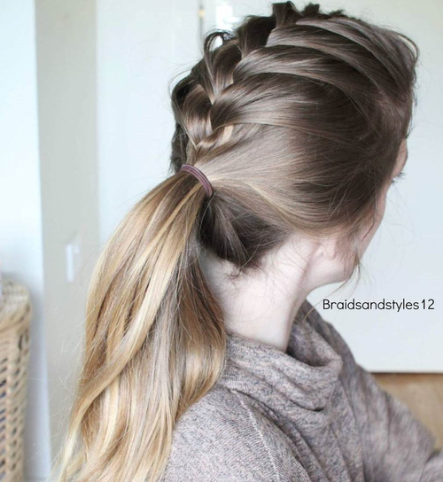 Braid Into Low Pony Casual Hairstyle