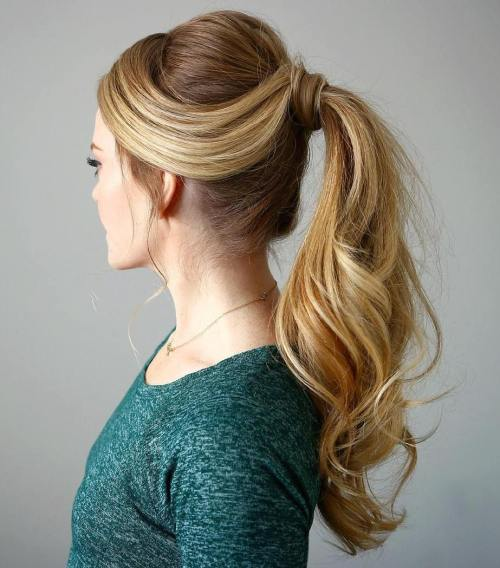 Wrapped Ponytail For Long Hair