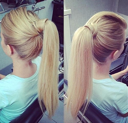 high blonde ponytail hairstyle