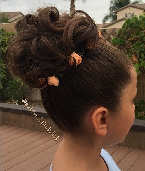 curly bun formal girls hairstyle