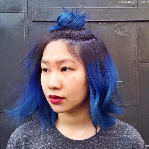 Bright Blue Bob With Brown Roots