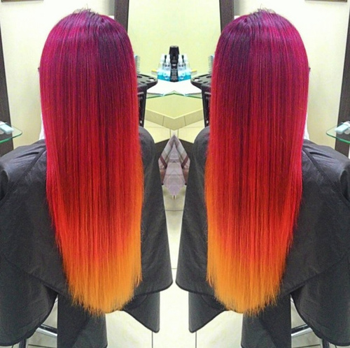 purple to red ombre on straight hair