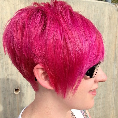 Pink Layered Pixie Cut