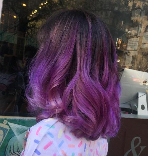 Purple Balayage Lob