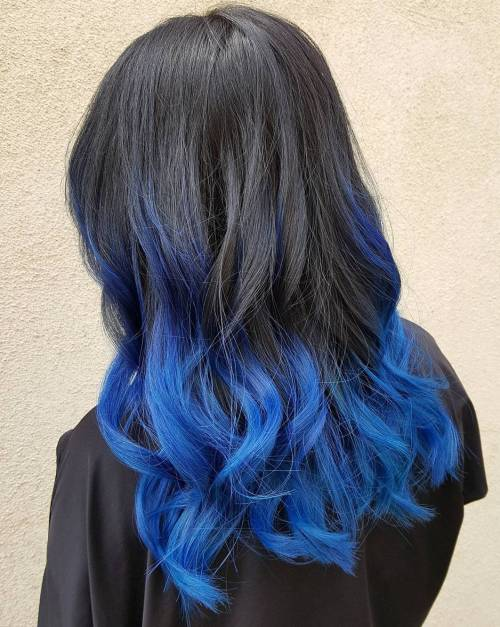 Bright Blue Balayage Highlights