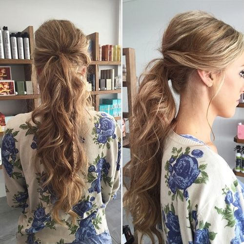 long curly pony with a bouffant and braid