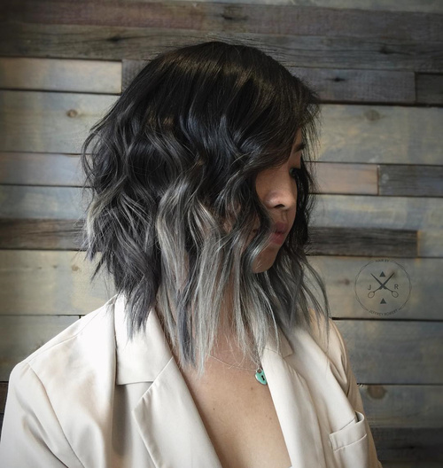 gray balayage for long black bob