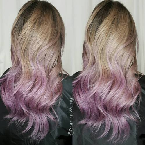 blonde hair with lavender tint