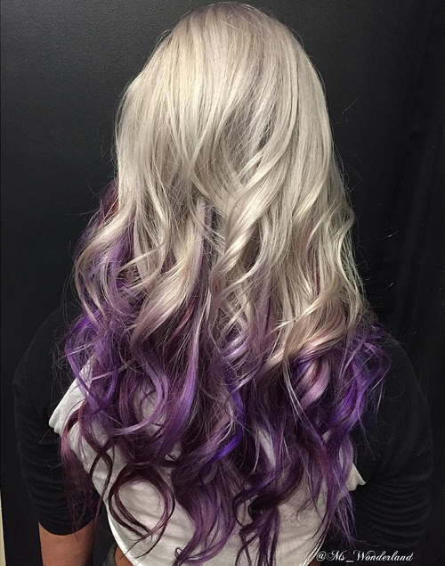blonde to purple long ombre hair