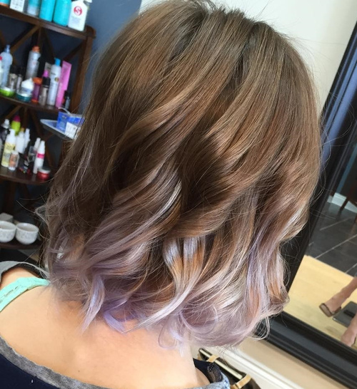 light brown hair with silver and lavender balayage