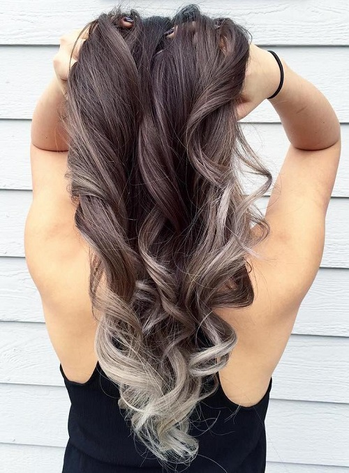 silver balayage for brown hair