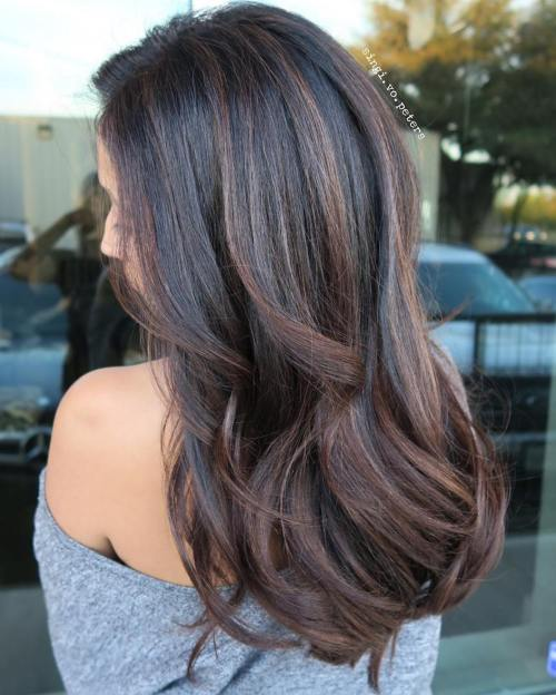 90 balayage hair color ideas with blonde brown and caramel highlights chocolate balayage for black hair pmusecretfo Images