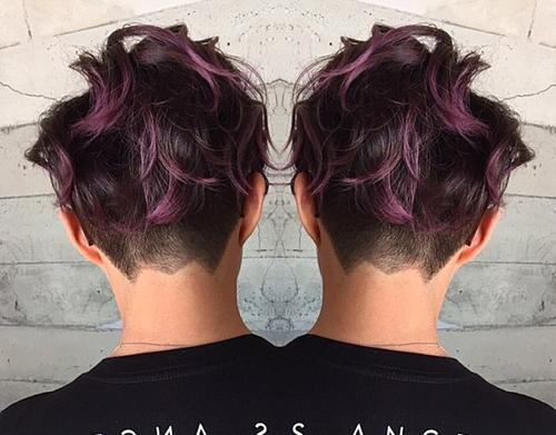 wavy pixie with undercut and purple highlights