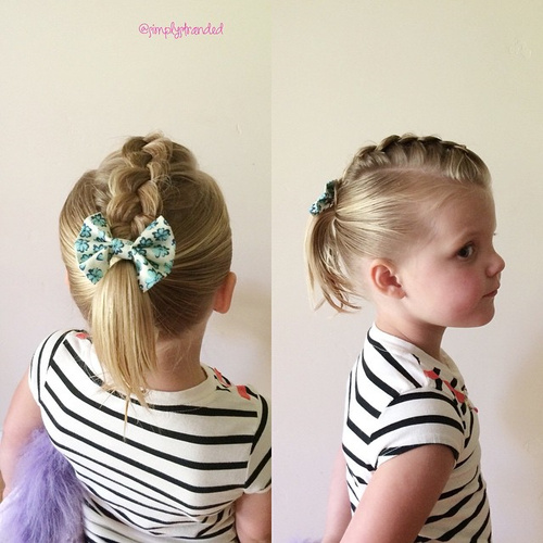 hair style for toddler girl 20 sweet baby hairstyles 5631 | 17 top braid with bow and ponytail