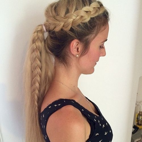 messy side braid and pony for long hair